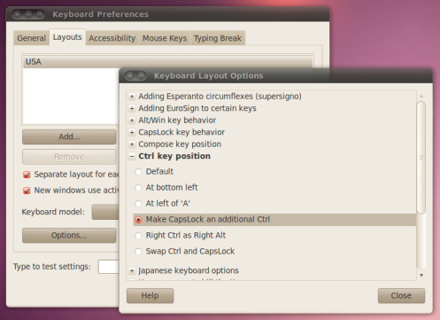 Ctrl key position options for your current keyboard layout