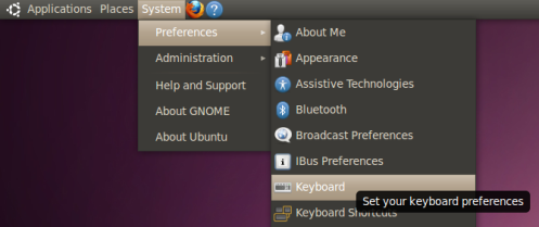 How to open the Keyboard Preferences dialog